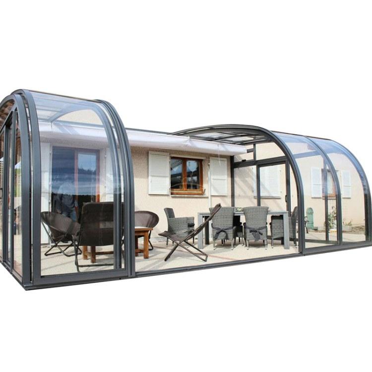 KASO 移动阳光房 折叠伸缩下沉院封顶电动泳池盖 顶棚 电天井电动遮光