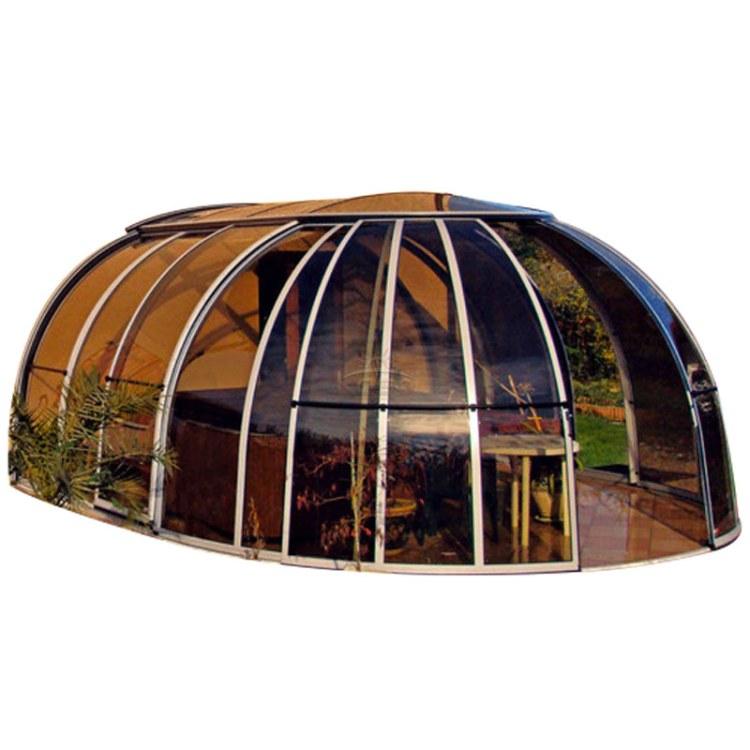 KASO 移动阳光房 折叠伸缩下沉院封顶电动泳池盖 游泳池顶棚电动阳光房