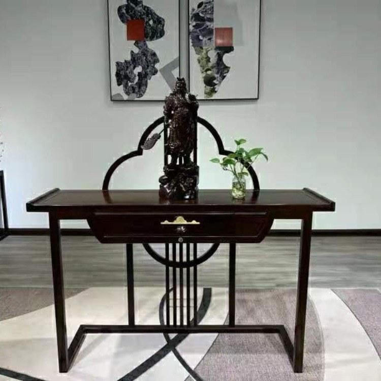 启航木业现代简约  黑檀中式门厅玄关柜沙发靠背桌条案条几供桌