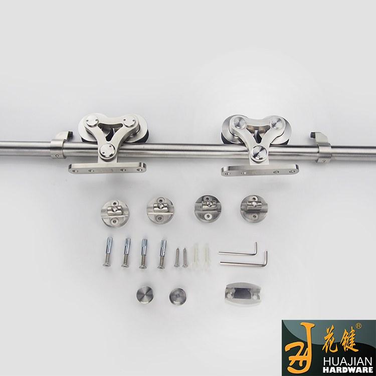 欧式精品不锈钢吊轮酒店工程无框架谷仓门不锈钢滑轮17C重型双轮耐磨平顺木门吊轮套装