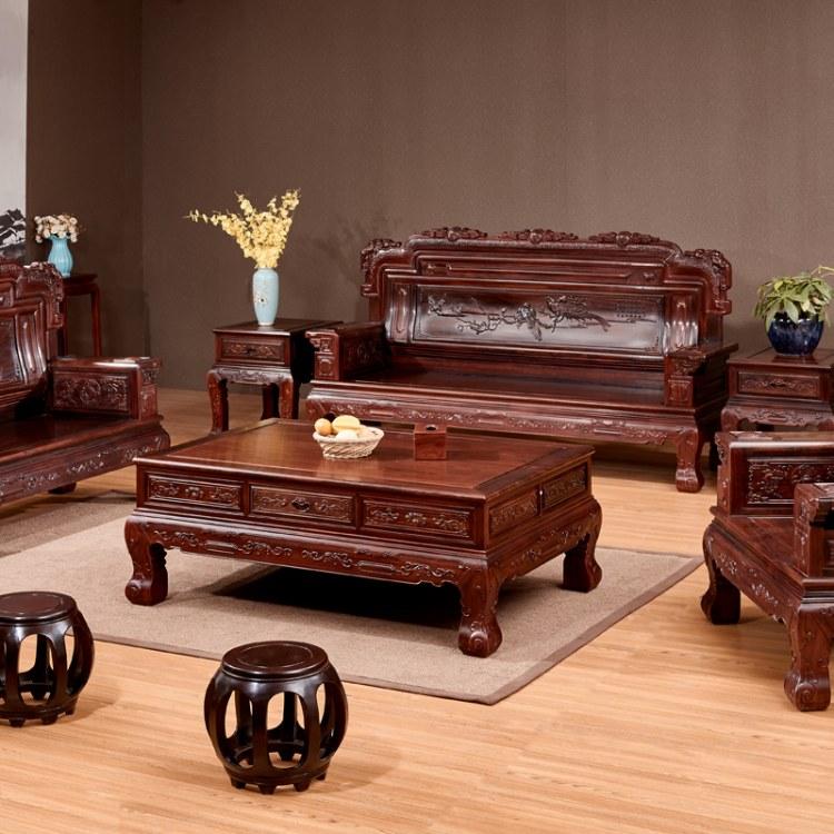 酸枝木红木沙发古典新中式别墅大户型客厅大红酸枝东非