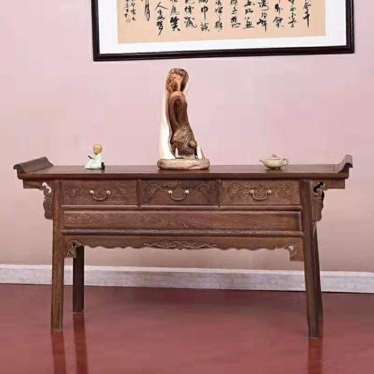 红木家具鸡翅木供桌条案佛台实木供台家用香案中式翘头案神台