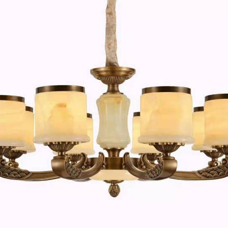 欧式LED灯泡三色光源客厅餐厅全铜吊灯批发零售全国发货