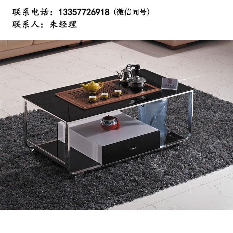 厂家定制 现代简约餐厅 圆桌  接待桌双人位 茶台 钢架茶几 批发XF-03