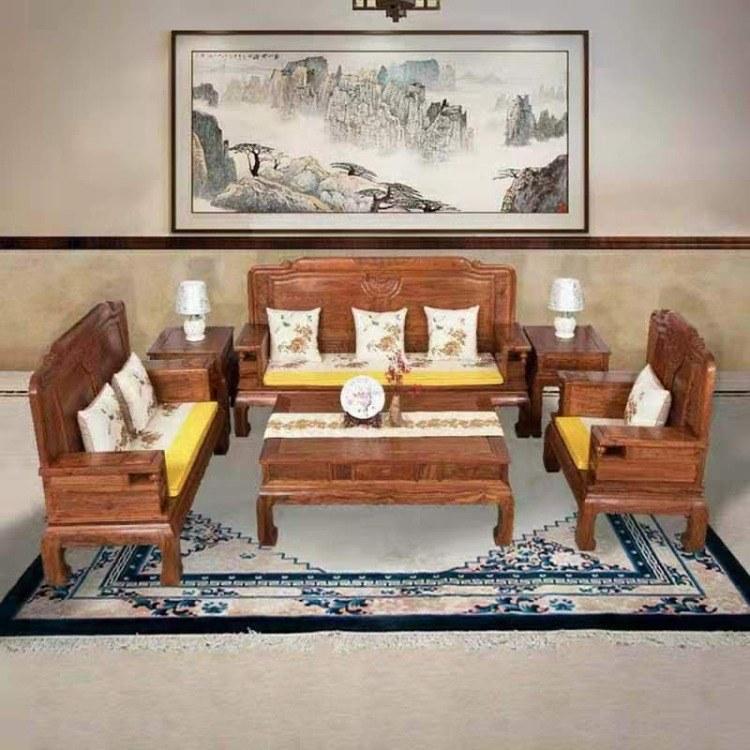 红木沙发实木新中式 客厅组合刺猬紫檀沙发家具