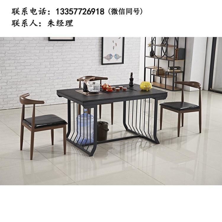厂家定制 现代简约餐厅 圆桌  接待桌双人位 茶台 钢架茶几 批发XF-04