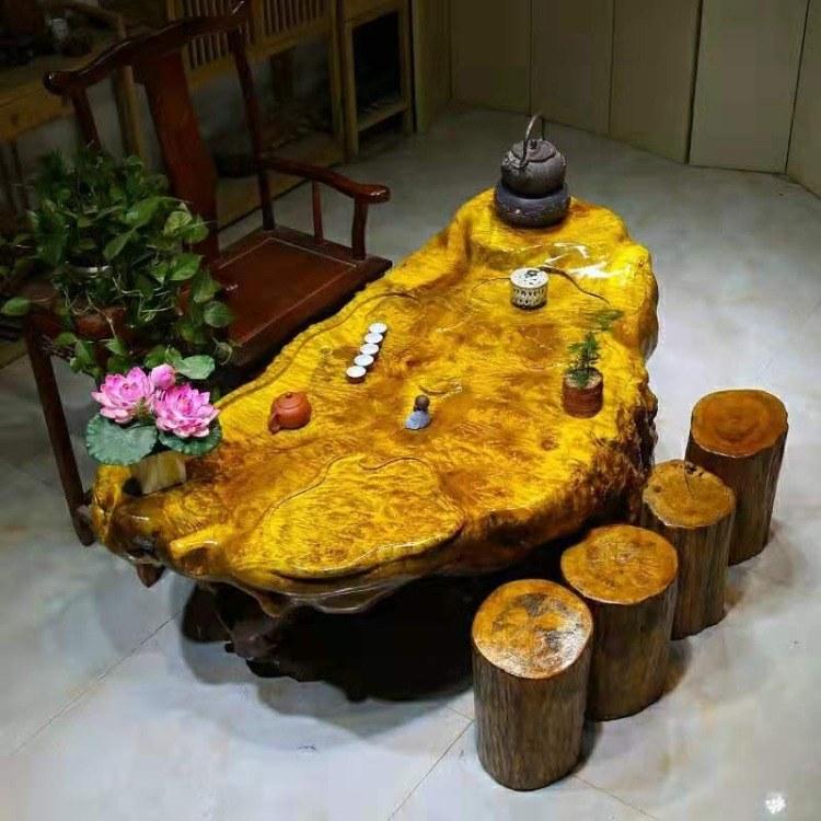 启航木业 根雕茶台茶几艺树根整体自然原木黄金樟雕刻功夫茶桌家用