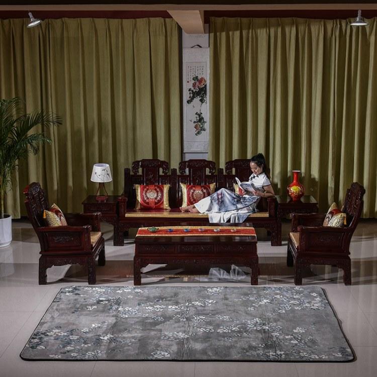 红木鸡翅木茶几沙发组合实木客厅整装家具小户型仿古全中式雕花
