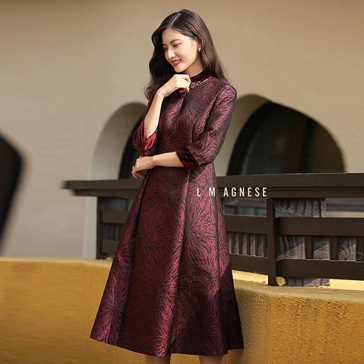 简爱格妮斯高端品牌女装专柜正品秋冬新款提花复古连衣裙
