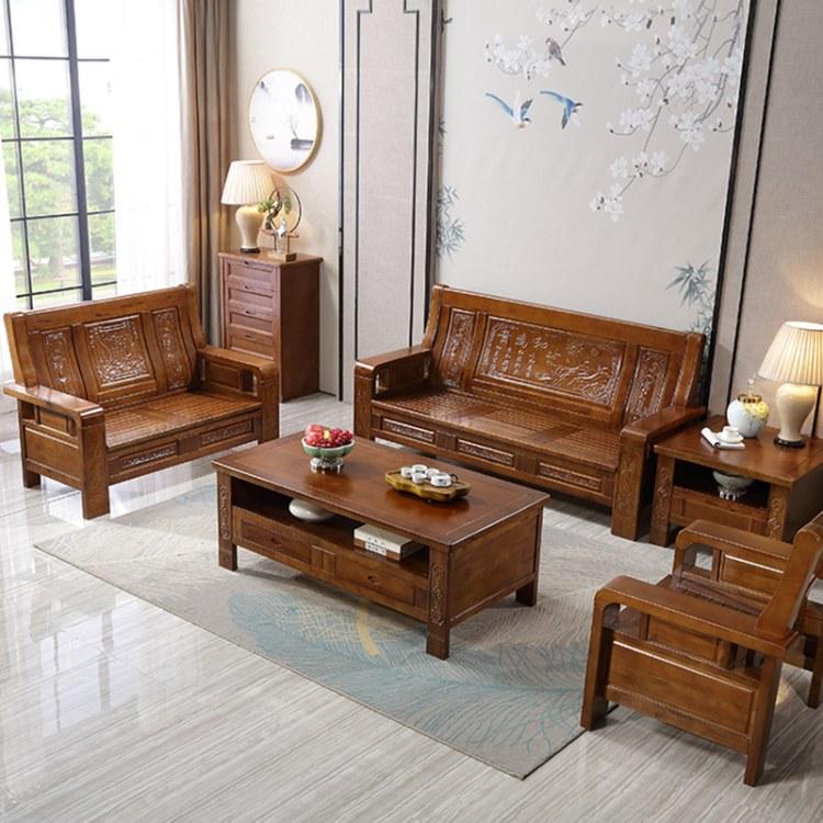 新中式客厅全实木沙发组合套装红木家具冬夏两用经济型农村木沙发