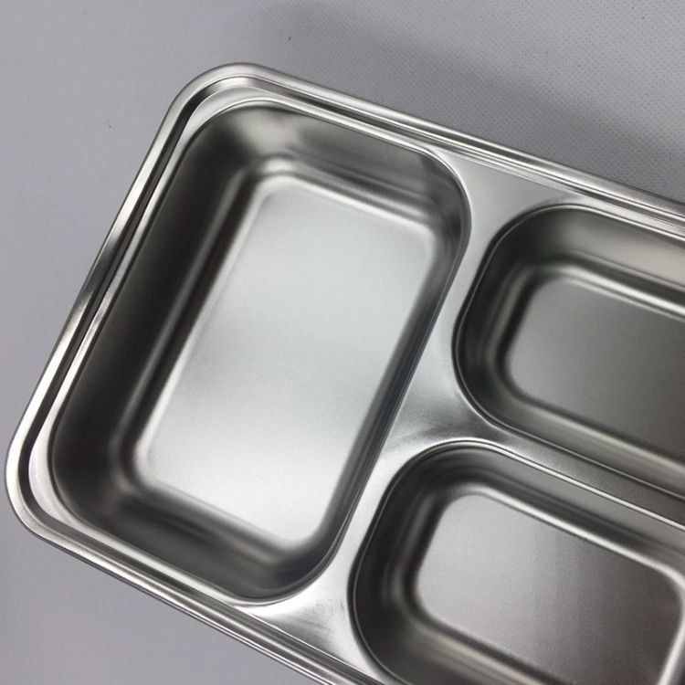 不锈钢特厚无磁餐盘三格餐盘 两格餐盘 四格餐盘多用饭饭菜碗可long定制!!