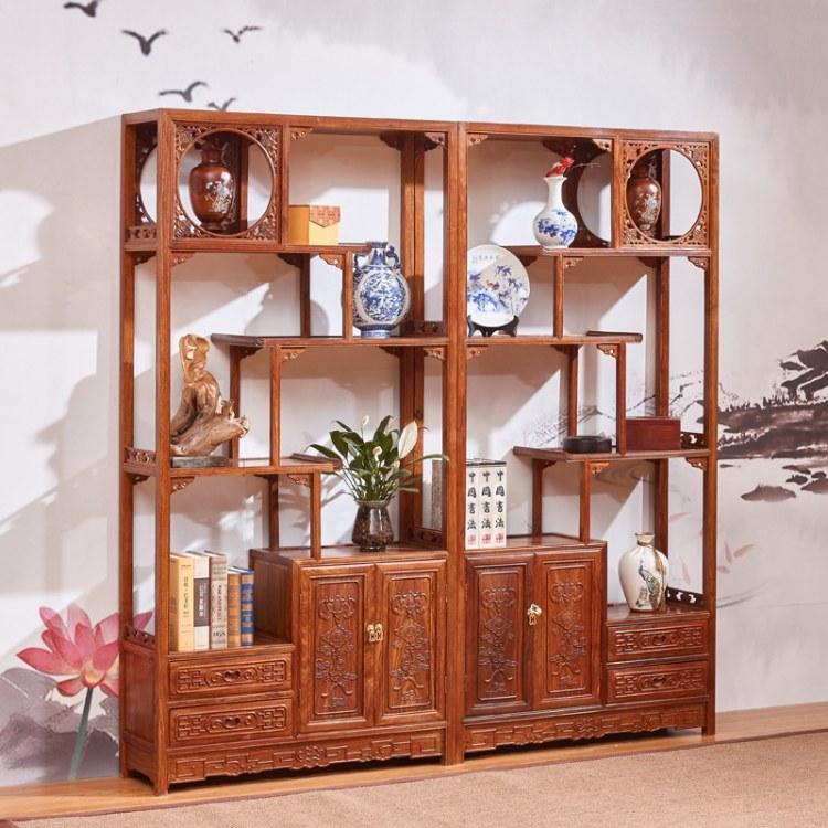 红木家具 鸡翅木客厅博古架中式多宝阁隔断实木古董架展示柜