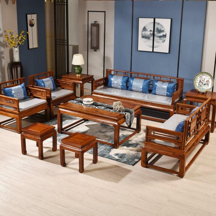 刺猬紫檀兰亭序沙发组合客厅红木家具花梨木简约中式实木仿古整装