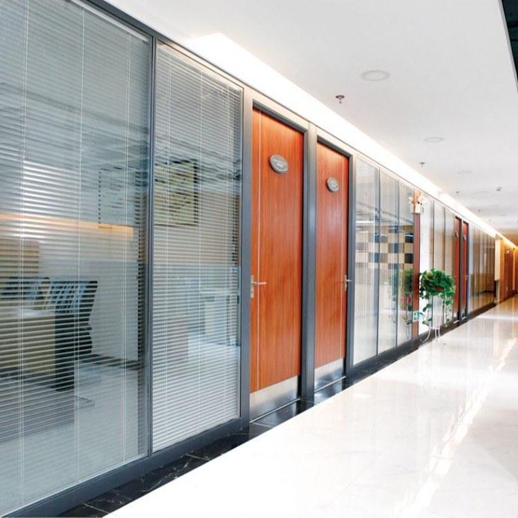 办公隔断 木面 玻璃 铝合金 格栅 高隔