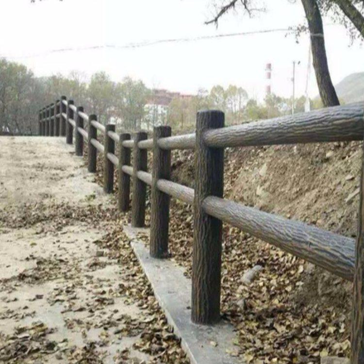 丽景建材 河边水泥仿树皮栏杆 道路水泥仿树皮栏杆定做
