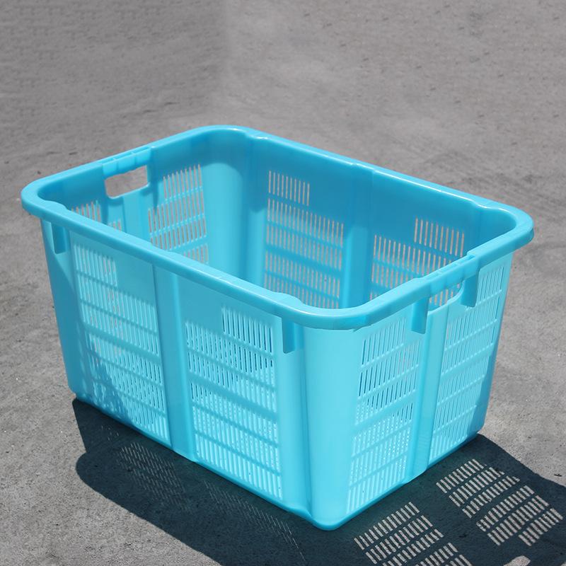 廠家直供670籮 藍色大號長方形塑料籮筐周轉筐 蔬菜水果收納筐