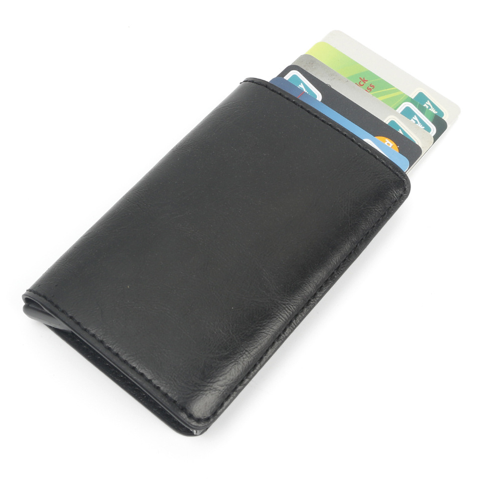 厂家热销自动弹卡式防磁卡包 东莞礼品公司企业商务定制多功能防盗RFID NFC卡钱包