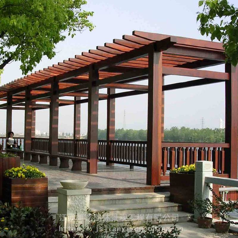 防腐木葡萄架木質廊架定制庭院花架木結構景觀工程