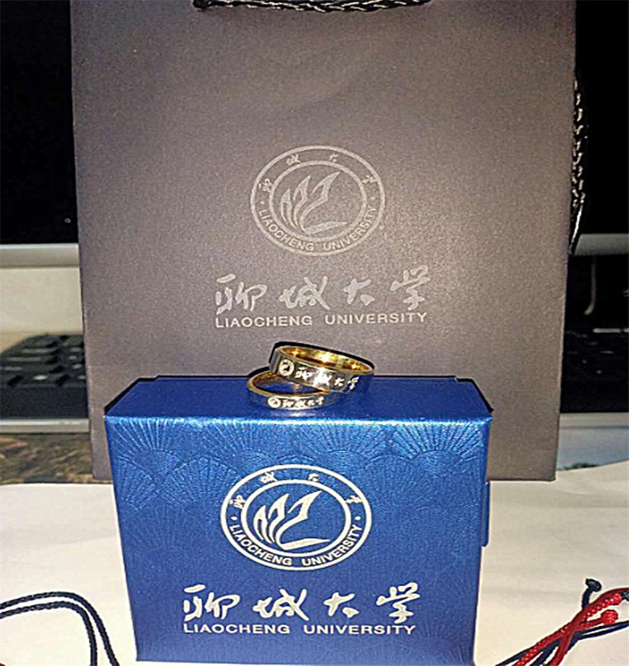 聊城大学礼品戒指锌合金戒指镀银戒指厂