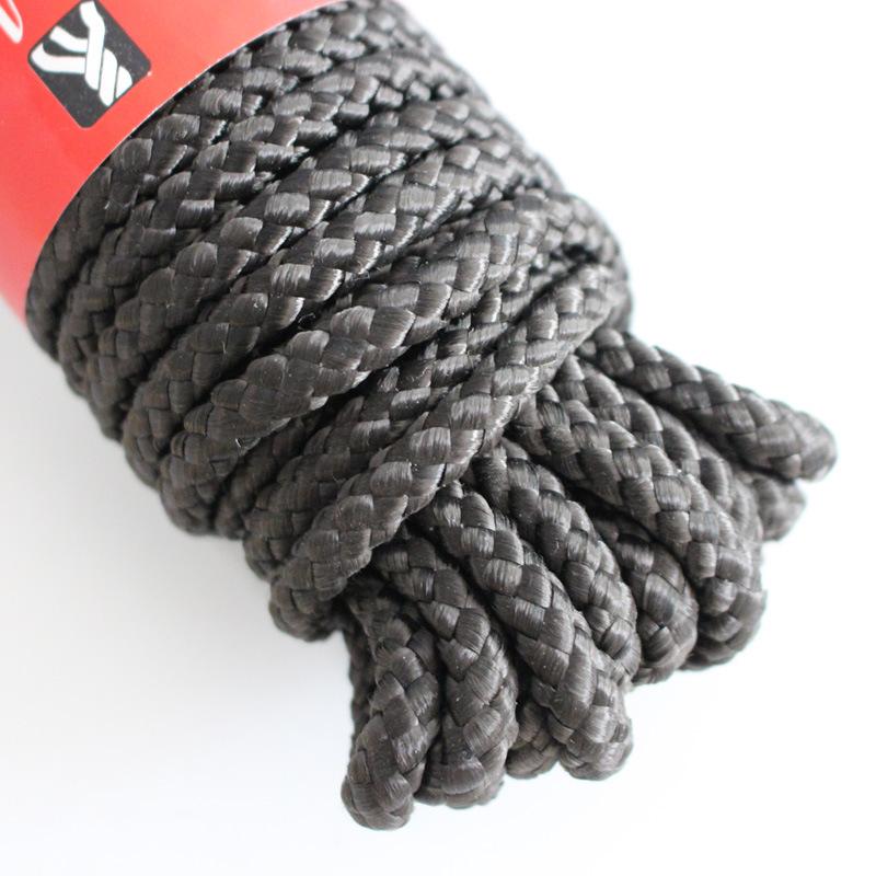 厂家热卖优质订制款黑色尼龙编织服饰帐篷攀登户外捆绑绳子