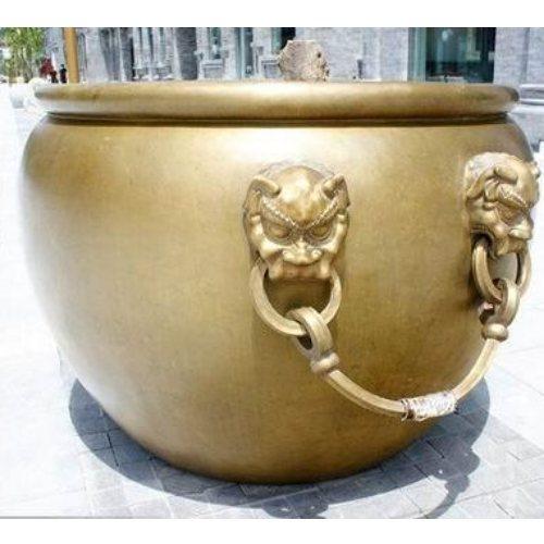 风水铸铜大缸批发 1.3米铸铜大缸加工厂 恒保发铜雕