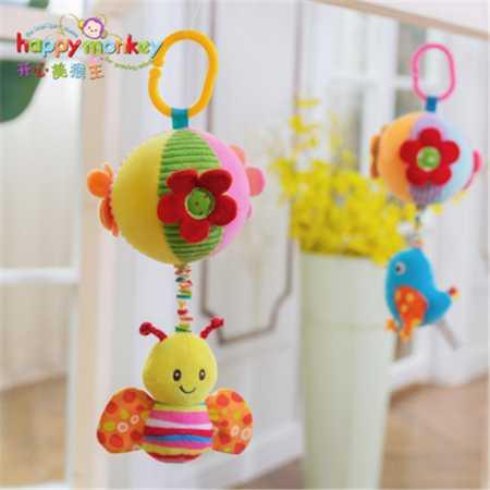 happy monkey婴儿玩具拉绳布球床铃
