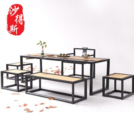新中式茶桌椅组合实木禅意功夫茶台实木简约泡茶桌现代