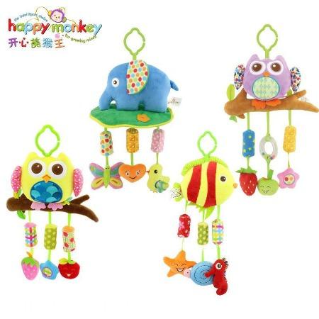 Happy Monkey婴儿玩具毛绒玩具动物床铃