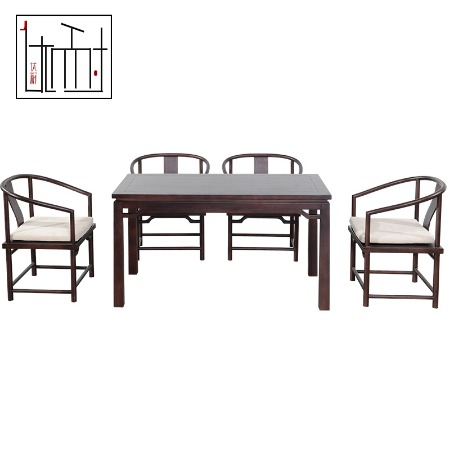 新中式餐桌椅组合一桌六椅现代中式简约饭桌样板房禅意