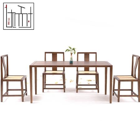 现代新中式实木餐桌椅组合一桌四椅长方形客厅定制家具