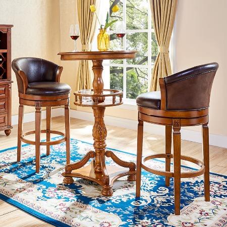 欧式实木吧椅真皮简约高脚凳吧凳酒吧高凳子家用美式酒吧椅吧台椅