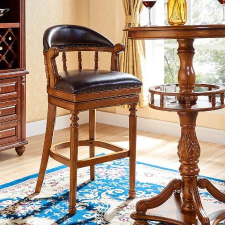 美式实木吧椅高脚椅吧台椅子欧式酒吧椅靠背高椅真皮家用高凳吧凳