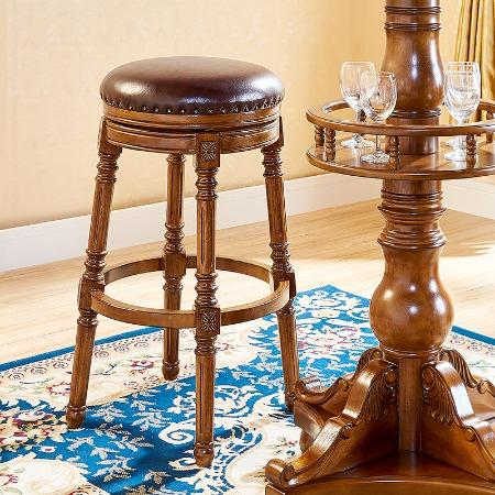 家用吧台高凳酒吧椅子吧凳高凳子高脚椅美式吧椅欧式实木吧台凳子