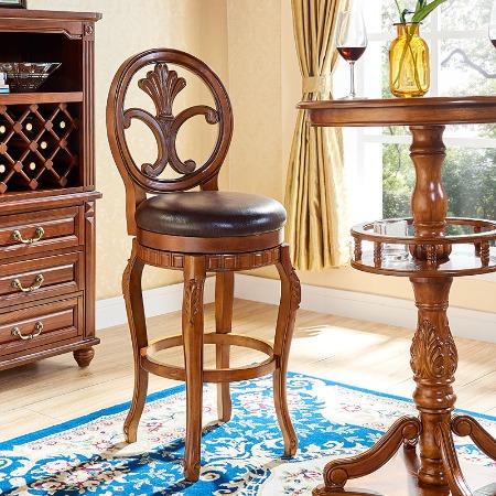 美式实木吧台椅欧式吧椅酒吧椅吧台凳吧凳高脚凳真皮法式岛台旋转