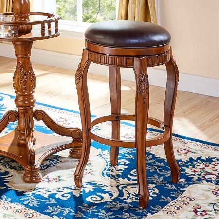 欧式吧台椅吧台凳美式吧凳实木高椅子真皮家用吧椅高脚凳酒吧凳