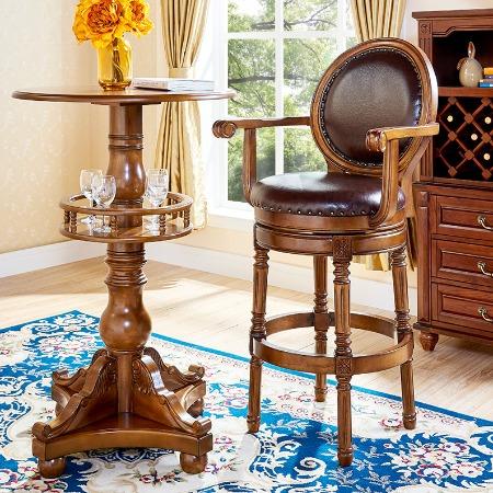 美式吧台椅实木吧椅欧式复古高脚凳靠背真皮旋转家用酒吧椅吧台凳