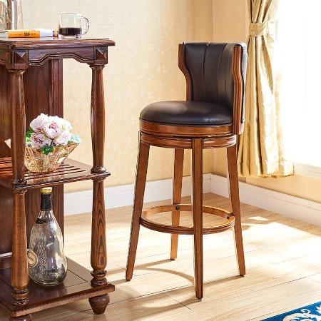 美式酒吧椅实木高椅真皮靠背家用吧台可旋转高脚椅子吧台椅