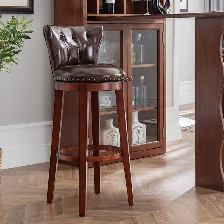 欧式吧凳实木吧椅美式吧台椅简约椅子巴凳家用酒吧椅吧台凳高脚凳