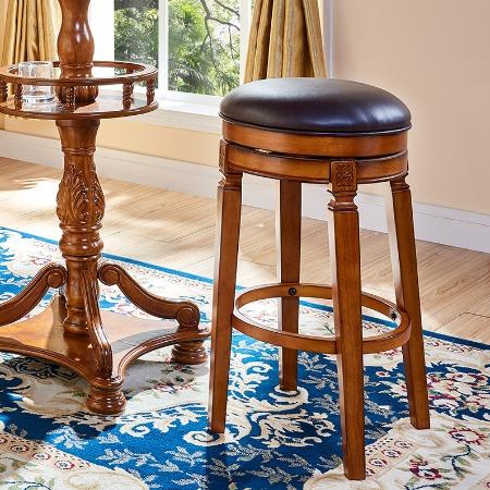 美式吧凳家用旋转高椅酒吧高脚椅子欧式吧台凳子实木高凳简欧吧椅