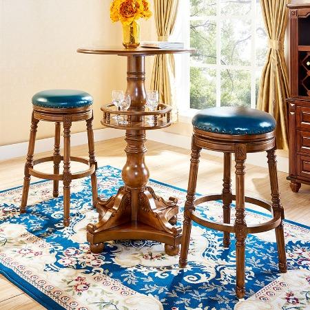 美式实木吧凳欧式实木旋转吧台凳子吧凳高脚凳家用靠背酒吧吧台凳