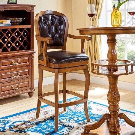 美式酒吧椅实木吧台椅欧式吧椅复古椅子家用高脚椅靠背旋转高凳子