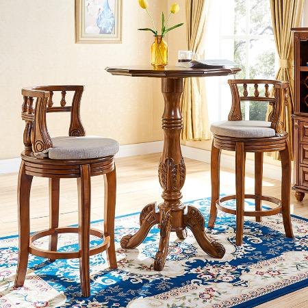 欧式吧椅全实木吧台椅美式高椅巴台高脚椅靠背家用复古旋转酒吧椅