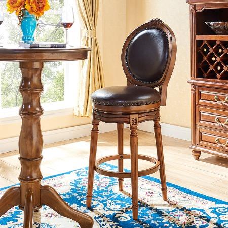 实木吧台椅美式吧椅酒吧椅欧式高脚椅子酒吧家用靠背吧台凳高脚凳
