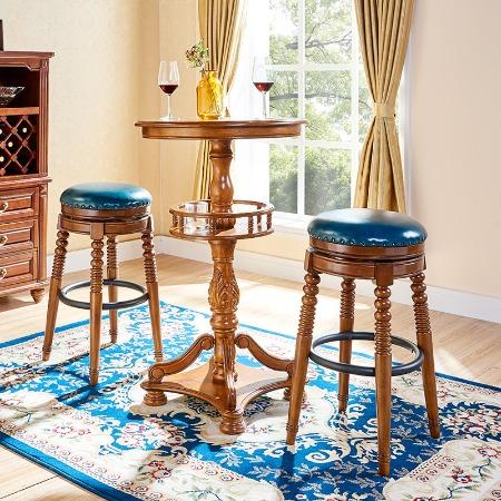 美式酒吧椅实木椅子酒吧台椅高脚凳高脚凳旋转吧凳