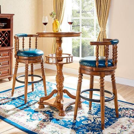 吧凳吧台凳子实木欧式吧椅吧台椅酒吧椅高脚凳美式复古高椅子家用