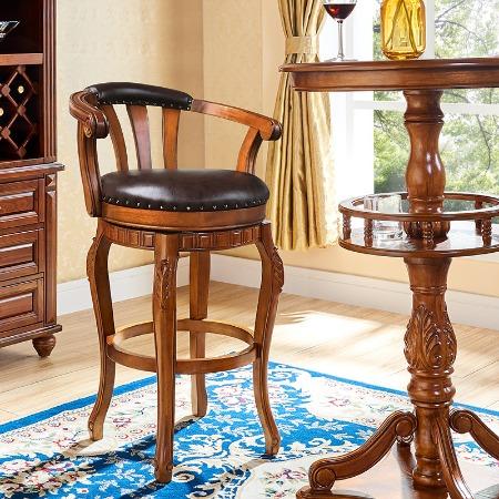 实木吧台椅酒吧椅欧式吧椅吧台靠背椅凳子高脚凳美式旋转家用真皮