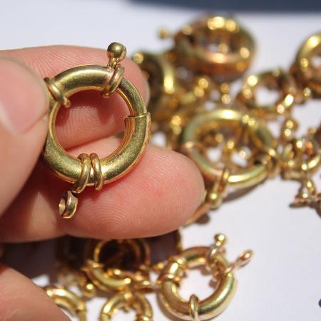 九青环保科技大量供应水手扣弹簧扣项链搭扣铜质9mm到21mm,毛坯料,单8双8等