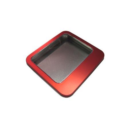 广东铁盒加工厂定制马口铁开窗铁盒红色方形珠宝盒