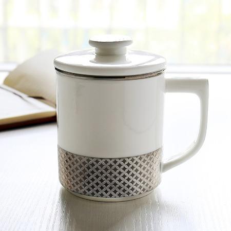 赫窑 长官杯礼品茶杯陶瓷盖杯过滤茶漏办公水杯老板杯带盖过滤会议杯子印LOGO骨瓷杯 品茗杯