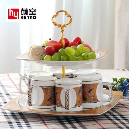 歐式骨瓷咖啡具套裝陶瓷水具一壺六杯碟帶勺禮品定制logo
